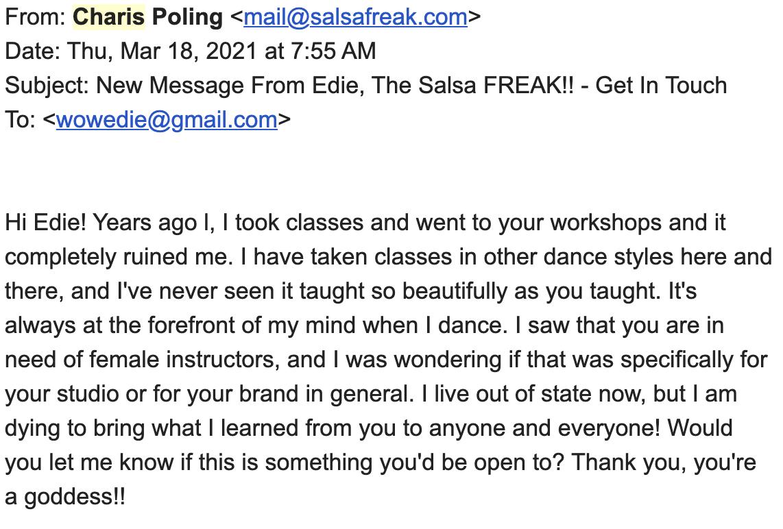 Edie The Salsa FREAK Testimonial